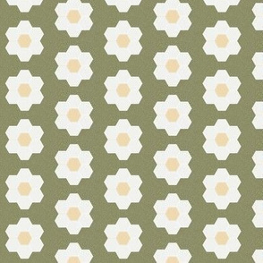 "iguana daisy hexagon - 1.5"" daisy - sfx0525 - daisy quilt, baby quilt, nursery, baby girl, kids bedding, wholecloth quilt fabric"