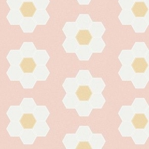 "blush daisy hexagon - 3"" daisy - sfx1404 - daisy quilt, baby quilt, nursery, baby girl, kids bedding, wholecloth quilt fabric"