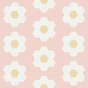 "blush daisy hexagon - 6"" daisy - sfx1404 - daisy quilt, baby quilt, nursery, baby girl, kids bedding, wholecloth quilt fabric"