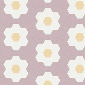 "lilac daisy hexagon - 3"" daisy - sfx1905 - daisy quilt, baby quilt, nursery, baby girl, kids bedding, wholecloth quilt fabric"