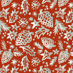 50s Old Time Xmas pattern red