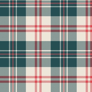 Red green linen tartan plaid