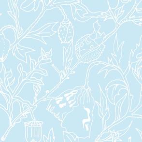 Coquelicots  sur fond bleu pâle