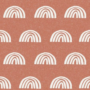Scattered Rainbows Fabric - Apricot sfx1336 || Earth toned rainbows fabric || Rainbow Baby kids bedding