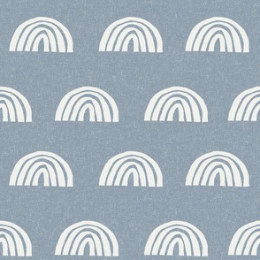 Scattered Rainbows Fabric - denim sfx4013 || Earth toned rainbows fabric || Rainbow Baby kids bedding