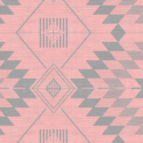geometric kilim pink and grey large scale
