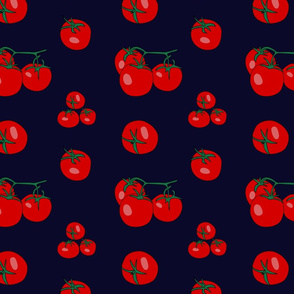 Red tomatoes on navy-blue