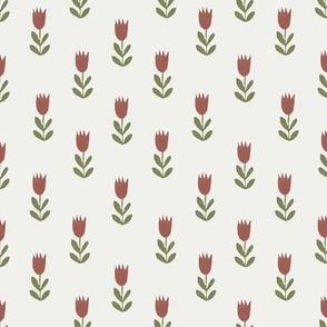 tulips fabric - sfx1443, sfx0525, earth toned fabric, baby fabric, linen trend, terracotta, prairie, baby girl fabric, hippie boho fabric, linocut tulips fabric