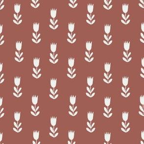 tulips fabric - sfx1443, earth toned fabric, baby fabric, linen trend, terracotta, prairie, baby girl fabric, hippie boho fabric, linocut tulips fabric