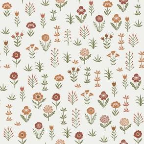 wildflower fabric - sfx1443, redwood, caramel, sierra, iguana - linocut block print fabric - floral fabric, girls nursery fabric, kids bedding fabric