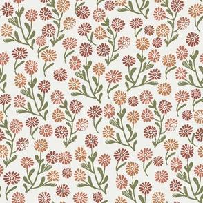 daisies fabric -  redwood caramel sierra iguana, sfx1443, sfx1346, sfx1340, sfx0525 - daisy fabric, delicate ditsy floral fabric, ditsy daisies, prairie floral fabric, baby girl fabric, trendy nursery fabric