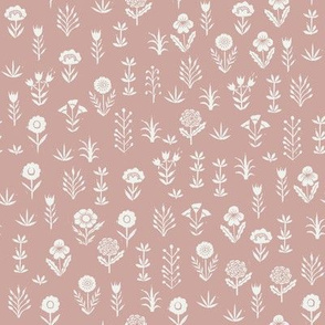 wildflower fabric - sfx1512 rose - linocut block print fabric - floral fabric, girls nursery fabric, kids bedding fabric