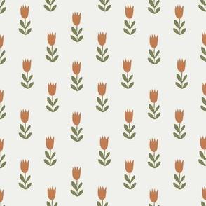 tulips fabric - sfx1340, sfx0525, earth toned fabric, baby fabric, linen trend, terracotta, prairie, baby girl fabric, hippie boho fabric, linocut tulips fabric