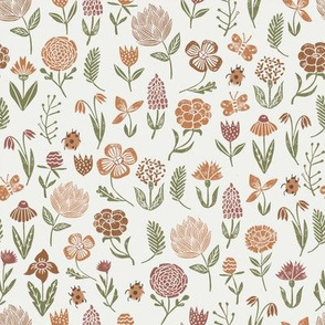 meadow floral - redwood, caramel, sierra, iguana - baby girl floral, earth tone floral, sage florals, nursery fabric, baby fabric, kids bedding