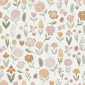 meadow floral - rose, oak leaf, caramel - baby girl floral, earth tone floral, sage florals, nursery fabric, baby fabric, kids bedding