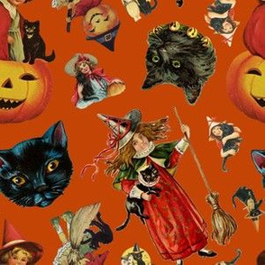 Vintage Black Cat Halloween Toss in Pumpkin Spice