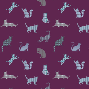 Patterned Cats  on Purple