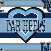 Tar Heels Stripes Heart School Team Colors Blue White Gray Black