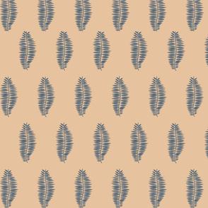 Blue Palms on Beige Background