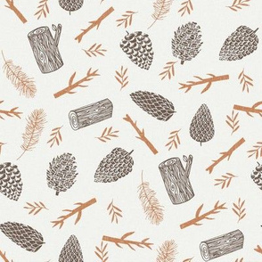 pinecone caramel pinecone - sfx1346, pinecones fabric, winter fabric, nature fabric, minimal nature fabric, earth toned fabric