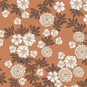 floral caramel - sfx1346, terracotta trend, christmas fabric, floral fabric