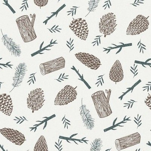 pinecone fabric - winter fabric, sfx1027, holiday fabric, christmas fabric, pine tree fabric, pine cones, twigs