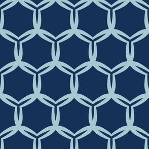 Indigo blue abstract organic cut dotty circles