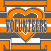 Volunteers Orange Gray White School Team Colors Stripes Heart