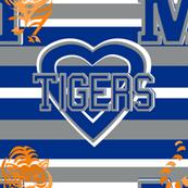 Memphis Tigers Blue White Gray Stripes Heart Team School Colors