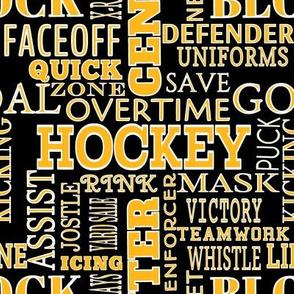 Hockey Alphabet ABC's Words Gold Black Lettering