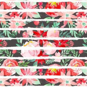 Christmas Watercolor Charcoal Chunky Stripes