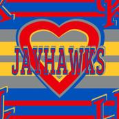Kansas Jayhawks Stripes Heart Team School Colors Blue Red Yellow Gray