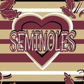 Florida Seminoles Stripes Heart School Team Colors Red Gold White Black