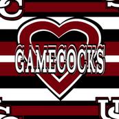 Gamecocks Garnet Stripes Heart Red White Black Team School Colors