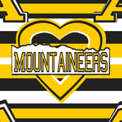 Appalachia State Mountaineers School Team Color Stripes Heart Yellow Black White