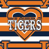 Tigers School Teams Colors Stripes Heart Orange Blue White