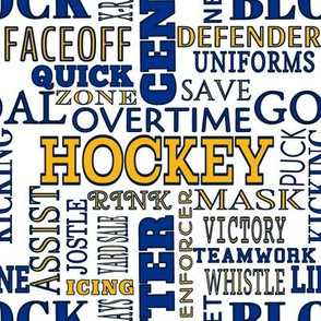 Hockey Alphabet Terms Words Lettering  Blue Yellow Navy White
