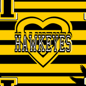 Iowa Hawkeyes Yellow Black Stripes Heart School Team Colors