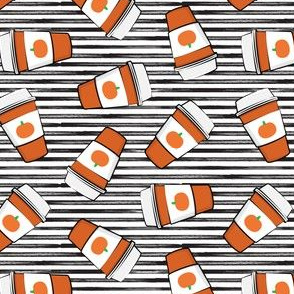 """(1.5"""" scale) Pumpkin Spice - Coffee Cups - Latte on black stripes - Pumpkin fall drink - LAD19BS"""