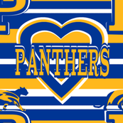 Pittsburgh Panthers Stripes Heart  Blue Yellow White School Team Colors