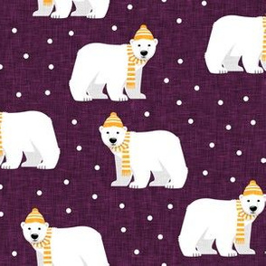 Winter Polar Bears - plum with polka - holiday christmas - LAD19