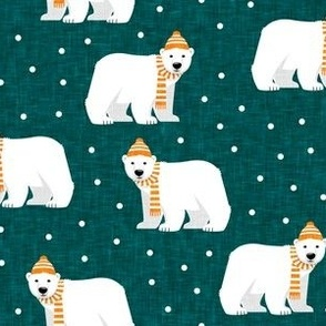 Winter Polar Bears - teal with polka - holiday christmas - LAD19
