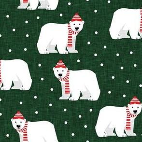 Winter Polar Bears - Green with polka - holiday christmas - LAD19