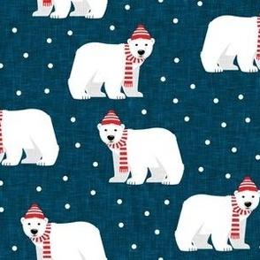 Winter Polar Bears - blue with polka - holiday christmas - LAD19