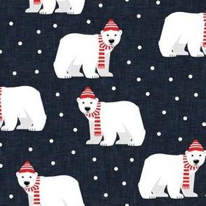Winter Polar Bears - dark blue with polka - holiday christmas - LAD19