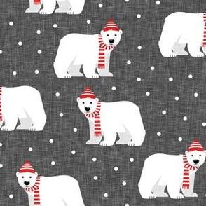 Winter Polar Bears - grey with polka - holiday christmas - LAD19