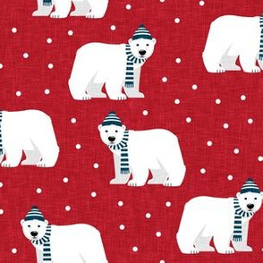 Winter Polar Bears - Red with polka - holiday christmas - LAD19