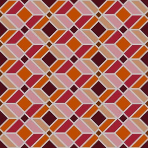 DU Geometric Lines - Red and Orange