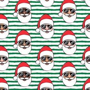 All the Santas - Santa Claus w/ sunnies - green stripes - Christmas C19BS