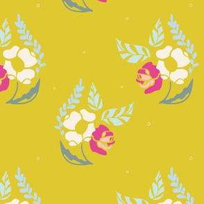 Yellow Poppy and Roses Bouquet Pattern